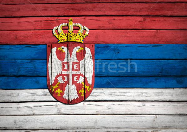 Sırbistan bayrak boyalı ahşap grunge stil Stok fotoğraf © cherezoff