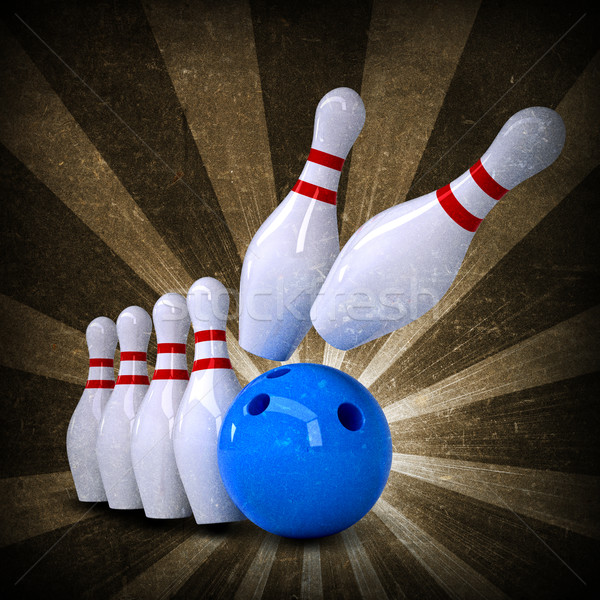 Bowling topu ayakta grunge stil spor spor Stok fotoğraf © cherezoff