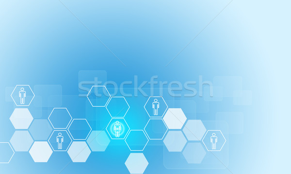 Hexagons with people icons and transparent rectangles Stock photo © cherezoff