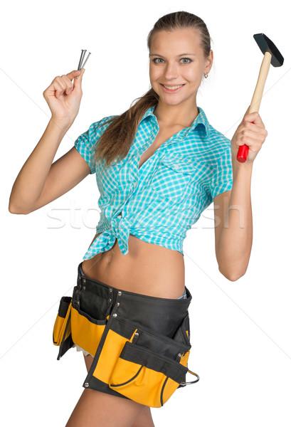 Stockfoto: Glimlachend · mooie · meisje · tool · gordel