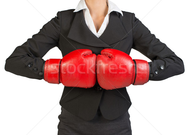 Cropped image of businesswoman in boxing gloves Stock photo © cherezoff