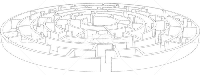 Round tangled maze. Vector Stock photo © cherezoff
