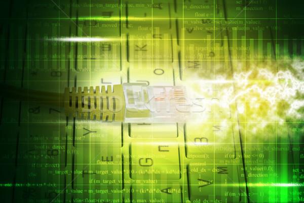 Kabel komputerowy klawiatury streszczenie zielone numery komputera Zdjęcia stock © cherezoff