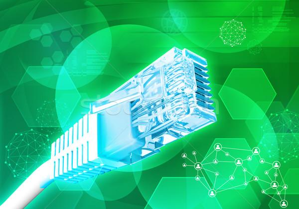 Kabel komputerowy cząsteczki streszczenie zielone komputera technologii Zdjęcia stock © cherezoff