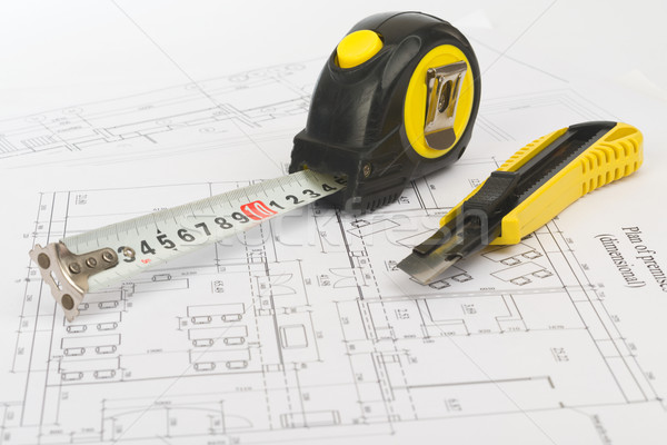 Tape measure with cutter, close up view Stock photo © cherezoff