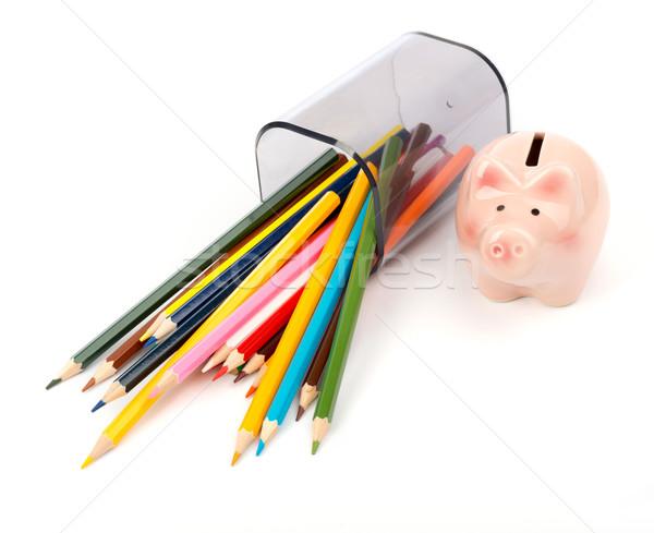Ceruza csésze zsírkréták rózsaszín persely izolált Stock fotó © cherezoff