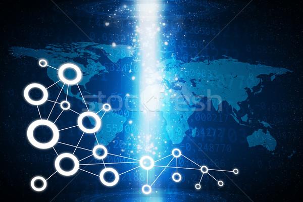 Világtérkép villanás fény számok világ Stock fotó © cherezoff