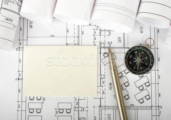 üres kártya toll terv iránytű felső kilátás Stock fotó © cherezoff