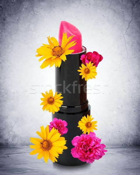 Pink lipstick with flowers Stock photo © cherezoff