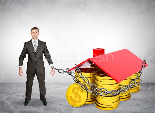 Stock fotó: üzletember · ház · érmék · szürke · üzlet · pénz