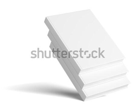 Blank three empty books on grey studio background Stock photo © cherezoff
