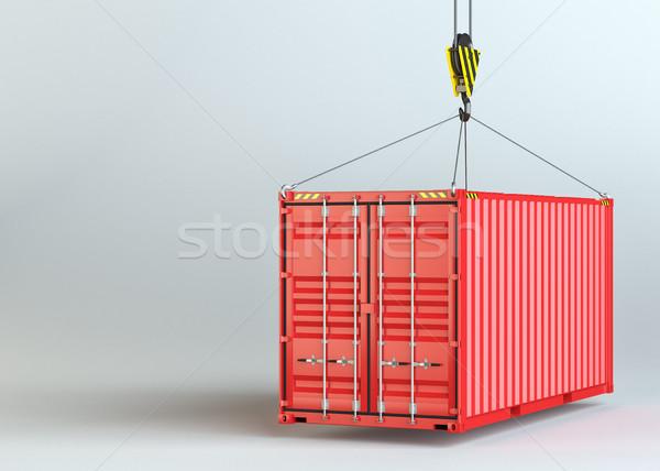 Grue crochet rouge fret contenant gris Photo stock © cherezoff