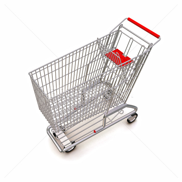 trolley from the supermarket. 3d rendering on white background Stock photo © cherezoff