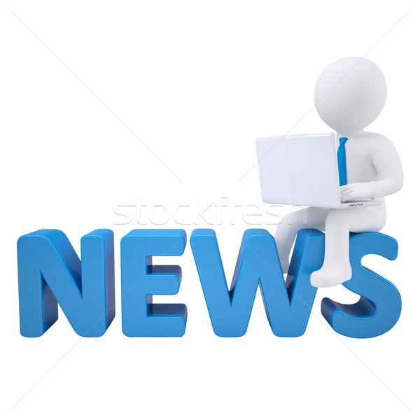 3D fehér férfi ül címkék hírek laptop Stock fotó © cherezoff