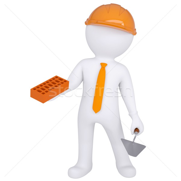 Stock photo: 3d white man in helmet holding brick and trowel