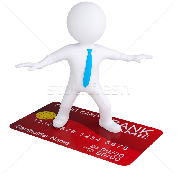 Stock fotó: 3D · fehér · férfi · áll · hitelkártya · izolált · render