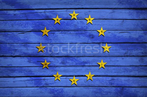 EU zászló festett fából készült grunge stílus Stock fotó © cherezoff