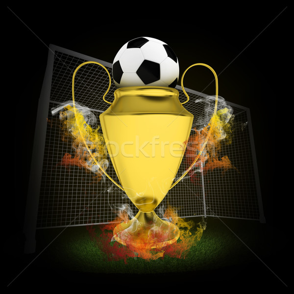 Soccer Cup and ball in colored smoke Stock photo © cherezoff