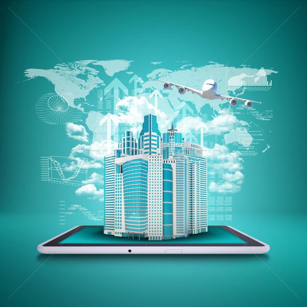 Aereo grattacieli tablet business soldi Foto d'archivio © cherezoff