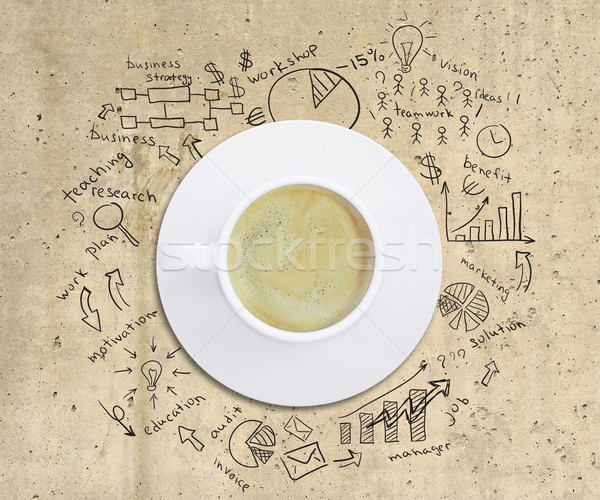 Business strategy infographics option drawn around coffee cup Stock photo © cherezoff