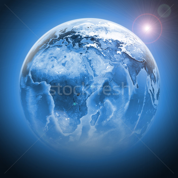 Blue earth globe with continents, transparent Stock photo © cherezoff