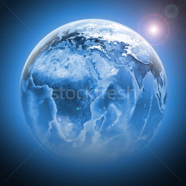 Bleu terre monde continents transparent Photo stock © cherezoff