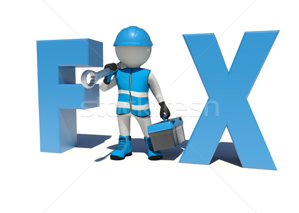 Arbeitnehmer halten Werkzeugkasten Schraubenschlüssel Schulter Weste Stock foto © cherezoff