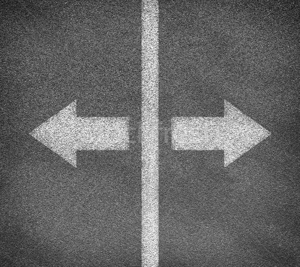 Stock photo: Asphalt road texture with two arrows and vertical line