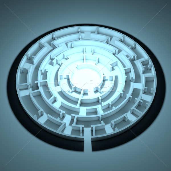 Round shape maze with same enter and exit Stock photo © cherezoff