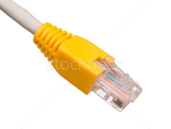 黄色 ケーブル 白 コンピュータケーブル 孤立した クローズアップ ストックフォト © cherezoff