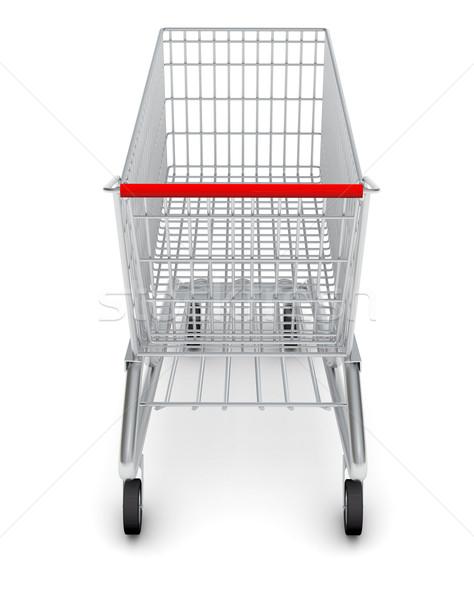 Rear view of shopping cart on white Stock photo © cherezoff