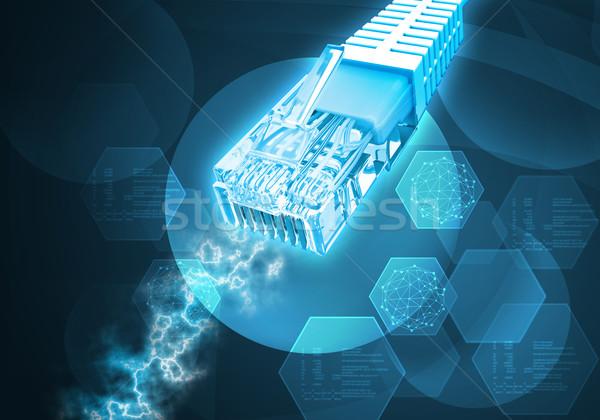 Kabel komputerowy energii streszczenie niebieski komputera Zdjęcia stock © cherezoff
