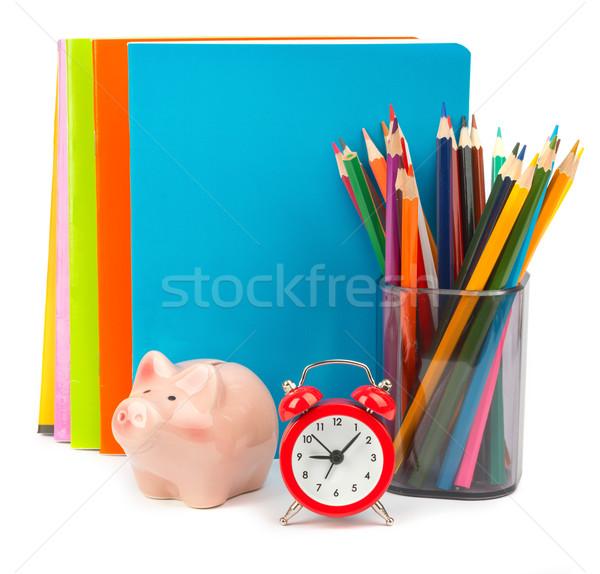 Persely ébresztőóra ceruza csésze zsírkréták izolált Stock fotó © cherezoff