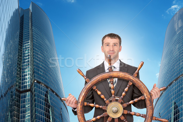 Biznesmen kierownica Cityscape podróży budynku Zdjęcia stock © cherezoff