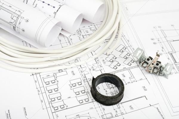 Architecture plan and rolls of blueprints Stock photo © cherezoff