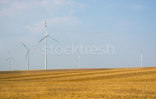 Fields and wind power stations on blue sky Stock photo © cherezoff
