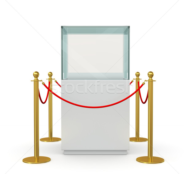 Glass showcase with gold fence and red rope Stock photo © cherezoff