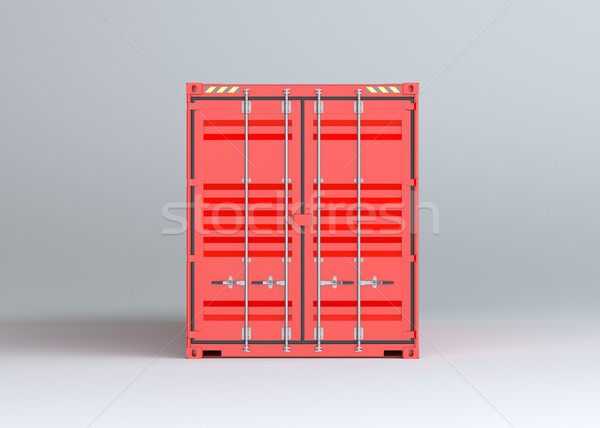 Red cargo container on gray background Stock photo © cherezoff
