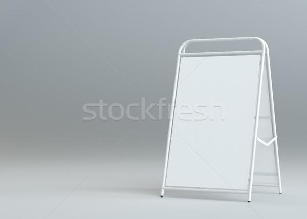 Blank white street stand on gray background Stock photo © cherezoff