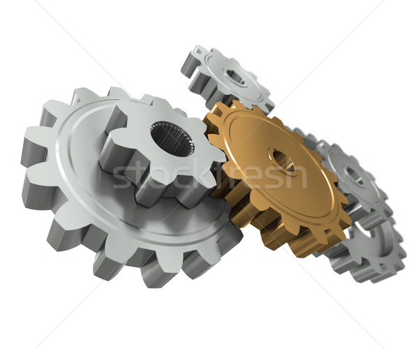 Group gears. Symbol leader in team work Stock photo © cherezoff