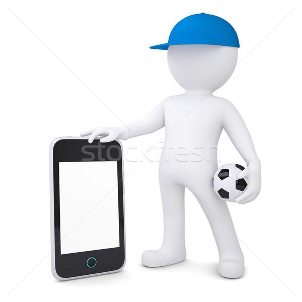 3D beyaz adam futbol topu yalıtılmış Stok fotoğraf © cherezoff