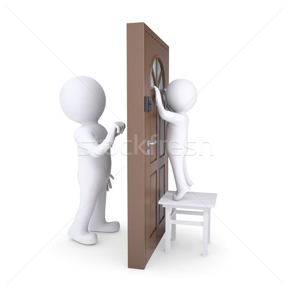 ゲスト ドア 子 ルックス 外に ウィンドウ ストックフォト © cherezoff
