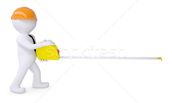 Witte menselijke helm meetlint geïsoleerd Stockfoto © cherezoff