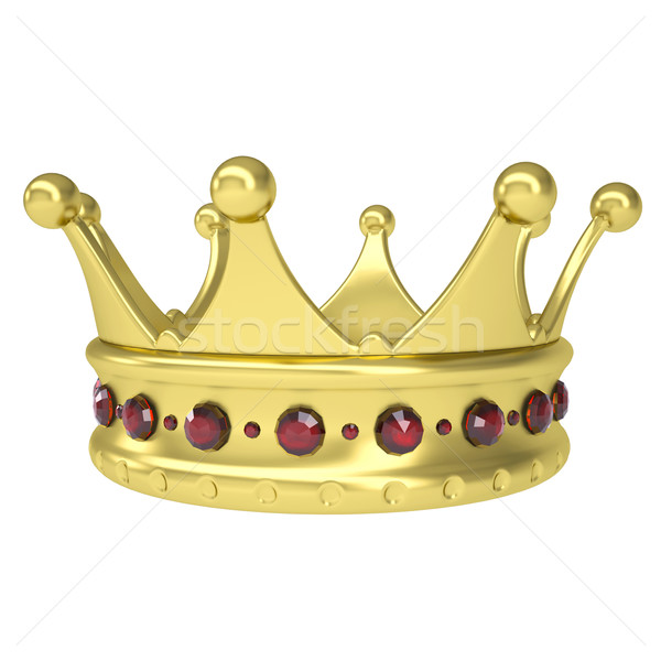 Gold crown decorated with rubies Stock photo © cherezoff