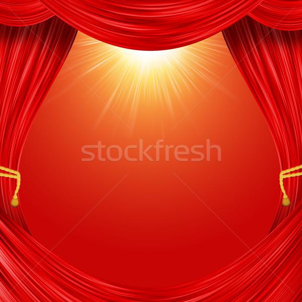 Otwarte kurtyny czerwony tkaniny żółty podwiązka Zdjęcia stock © cherezoff