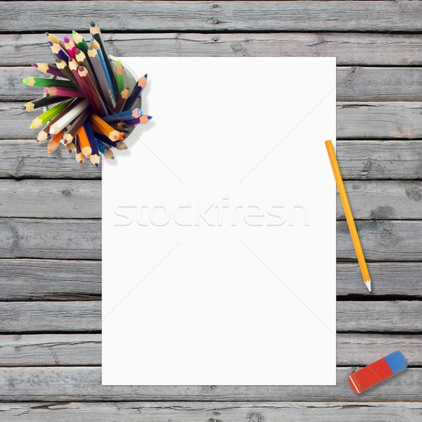 Mentir vazio papel folha artigos de papelaria Foto stock © cherezoff