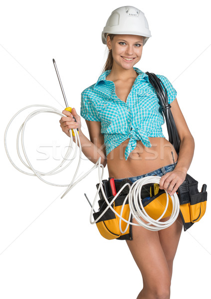 Foto stock: Bastante · electricista · casco · shorts · camisa · herramienta
