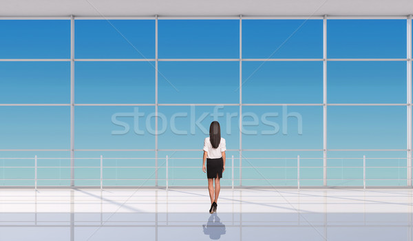 Young businesslady standing back Stock photo © cherezoff