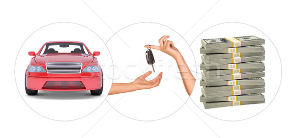 Car with hands and bundle of money Stock photo © cherezoff
