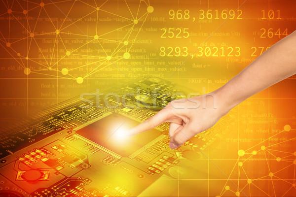Parmak dokunmak anakart soyut renkli sayılar Stok fotoğraf © cherezoff